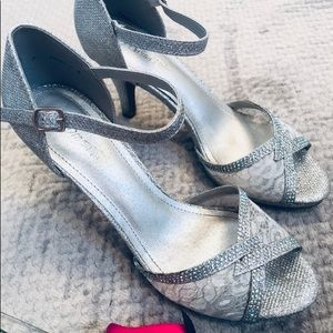 Dream Pairs silver sparkly heels
